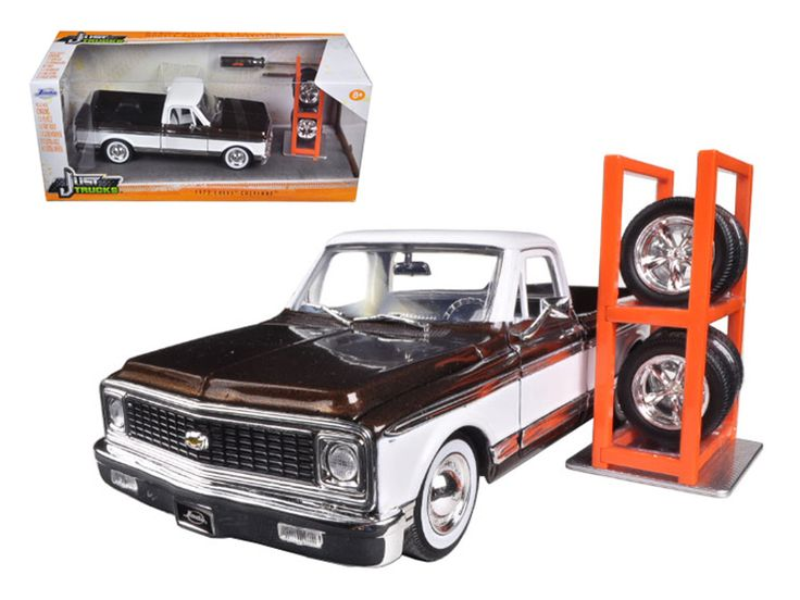 """1972 Chevrolet Cheyenne Pickup Truck Brown """"Just Trucks"""" with Extra Wheels 1/24 Diecast Model Car by Jada - Brand new 1:24 scale diecast model car of 1972 Chevrolet Cheyenne Pickup Truck Brown """"Just Trucks"""" with Extra Wheels die cast car model by Jada. Rubber tires. Brand new box. Detailed interior, exterior. Has opening doors, hood and rear gate. Made of diecast with some plastic parts. Dimensions approximately L-8, W-3.25, H-3.5 inches. Please note that manufacturer may change packing box…"""