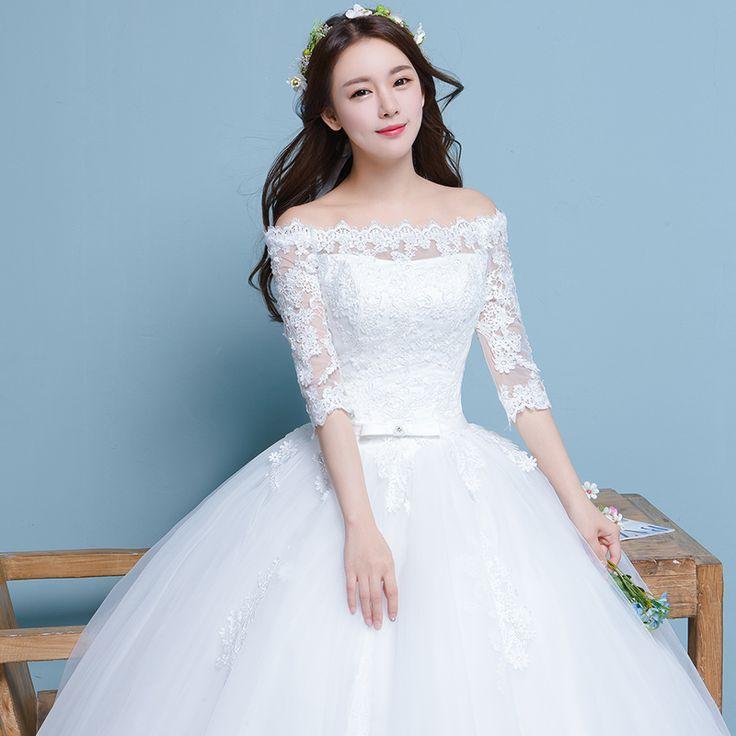 새로운 2017 한국어 단어 어깨 슬리브 드레스 슬림 대형 웨딩 드레스 제나라 공주 신부의 봄