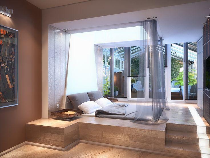 Спальня с кроватью на подиуме - Дизайн интерьера квартиры на ул. 8 Марта г. Тюмень