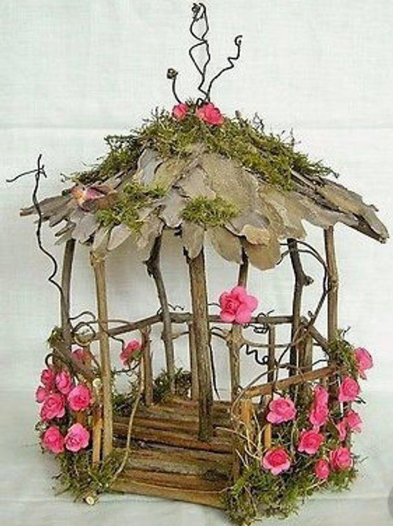 Diy Fairy Garden House Gazebo Natural Unfinished Wood Make Etsy