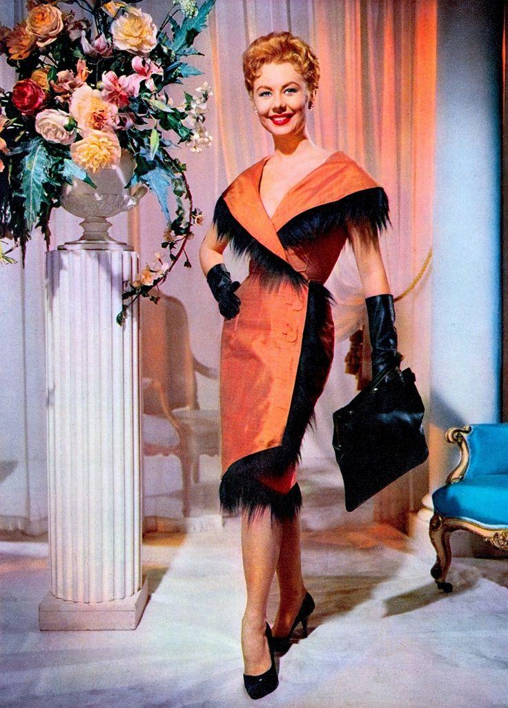 "MITZI GAYNOR ""London couturier Mattli designed Mitzi Gaynor's clothes for Surprise Package. Picturegoer Film Annual 1960-61 Odhams Press London (please follow minkshmink on pinterest) #mitzigaynor"