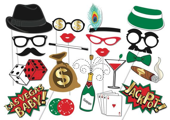 Here is the ultimate collection of Casino photo booth props! Tons of Fun!! Great for a table centrepiece or Photo booth!    Contains 22 pieces:    ♥ Dealer hat  ♥ Card dealer glasses  ♥ Cigar  ♥ Bottle of champagne  ♥ Cards  ♥ glasses  ♥ Long cigarette  ♥ Bag of money  ♥ Dice  ♥ fedora hat  ♥ Poker Chips  ♥ 2 x Mustache  ♥ 2 x Lips  ♥ Cocktail  ♥ fascinator  ♥ money glasses  ♥ Las Vegas Baby  ♥ Jackpot  ♥ Bow tie        This listing inlcudes one (12) page PDF file with 22 photo props…
