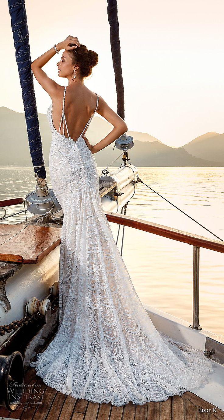 eddy k 2018 bridal sleeveless spaghetti strap deep plunging sweetheart neckline …