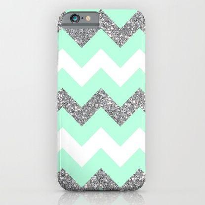 seafoam glitter chevron iPhone & iPod Case