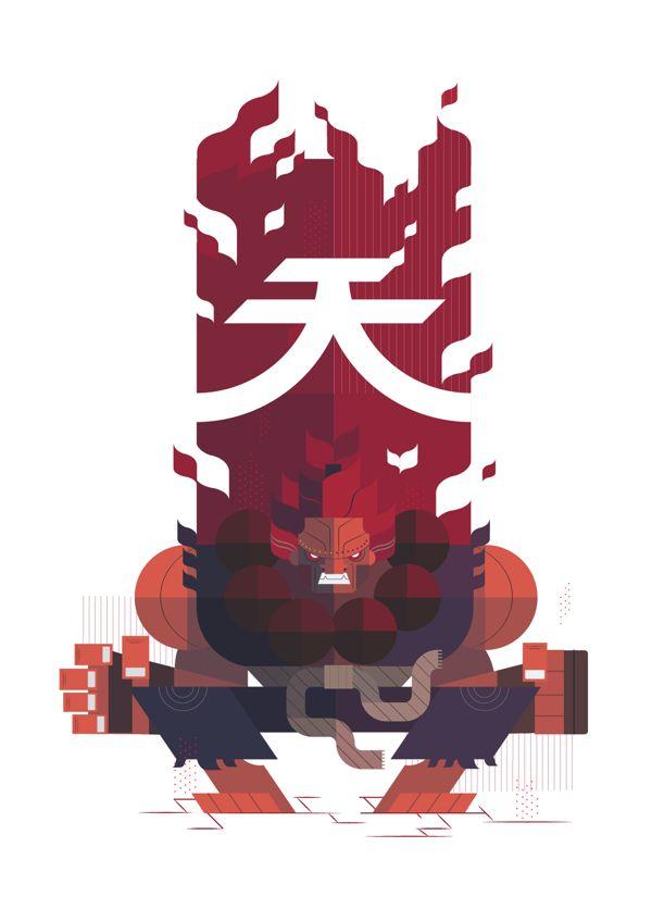 Ilustrações geométricas dos personagens do Street Fighter
