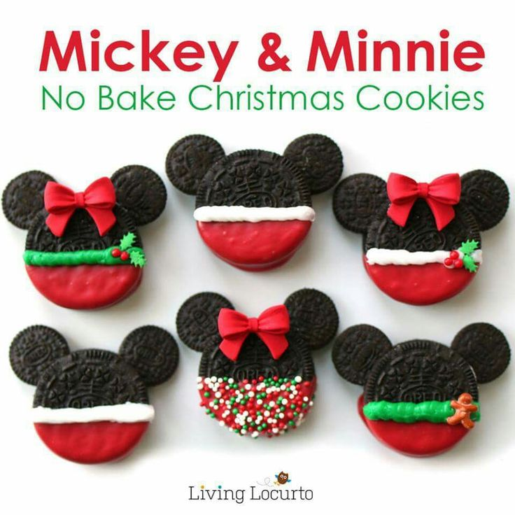Mickey & Minnie No Bake Holiday Cookies! Use red, green & White candy melts for the body  Use brown/chocolate candy melt as the glue for the mini Oreos #soeasy