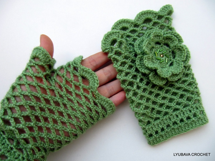 Fingerless Crochet Gloves Tutorial Pattern Pdf File, Gorgeous Crochet Arm Warmers With Flower Lyubava Crochet Pattern number 44. $3.99, via Etsy.