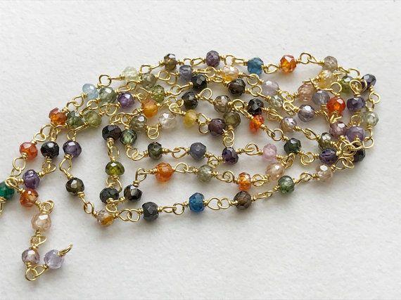 Multi Gemstone Faceted Rondelle Beads in 925 by gemsforjewels