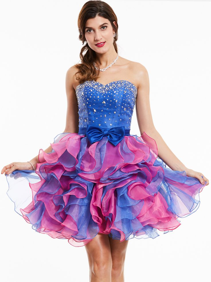 A-line sweetheart cocktail dress with beading bow knot
