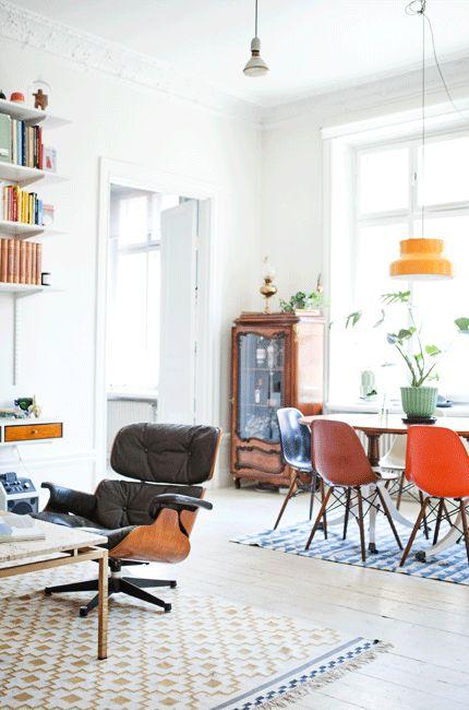 Sunny & colourful home with Ikea 'Alvine Ruta' rug