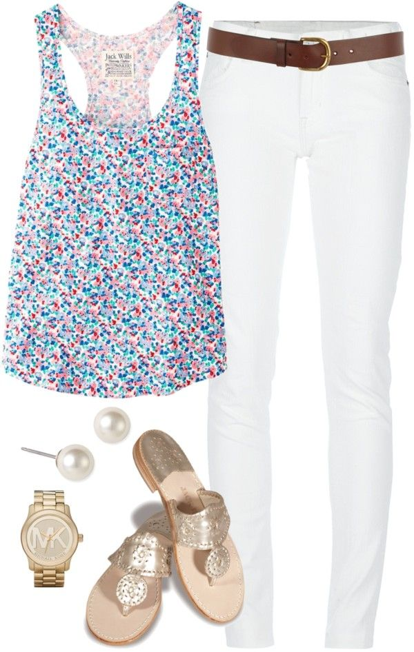"""Floral Tank Top"" by classically-preppy on Polyvore"
