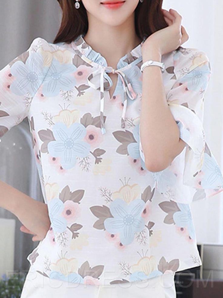 Ericdress impreso floral con cordones de la blusa ocasional Blusas