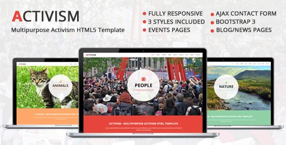 Activism – Multipurpose Activism HTML5 Template  	Clean and minimal responsive HTML template for non-profit organizations, events websites or any other business or personal website.  - Events list ...