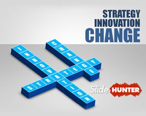 Free editable Innovation Strategy PowerPoint template with 3D text blocks in a Crosswords design #BusinessPresentation #business #Powerpoint #templates