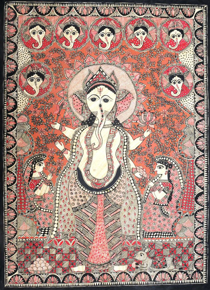 Colored Ganeshas are intense, brilliantly colored and make for excellent murals. This one has various shades of red that play on one's imagination.