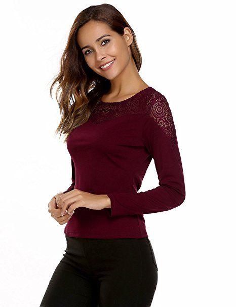 79ddbc7dcf5da4 Zeagoo Damen Elegant Langarmshirt Bluse Aus Geblümte Spitzenshirt OL  Business Party Top Bluse Shirt Tunika Hemd: - Swear…
