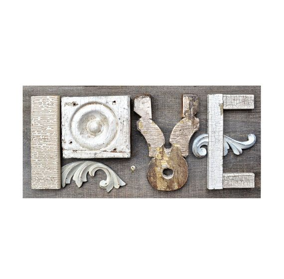 love sign architectural salvage typography by ElizabethRosenArt, $178.00
