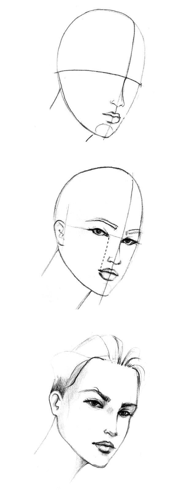 Learn more about how to draw the three quarter face, one of the most difficult features to draw in the face_600x1607