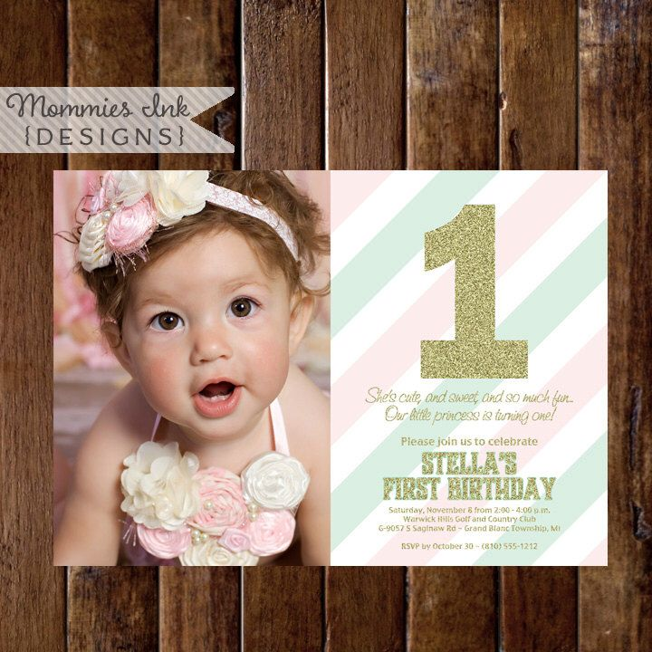 invitation words forst birthday party%0A Gold Glitter First Birthday Photo Invitation  Pink and Mint Stripes  Gold First  Birthday Invite