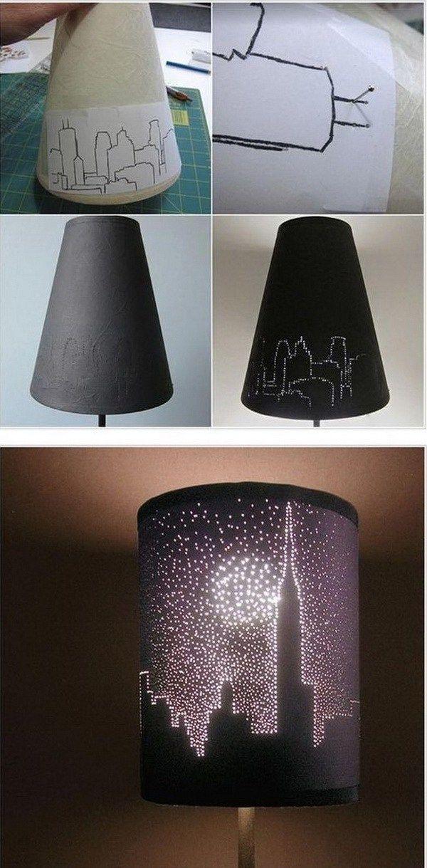 Diy Decorating City Lights Lampshade Another Awesome Diy Decor P Diy Room Decor Diy Decor Projects Diy Lamp