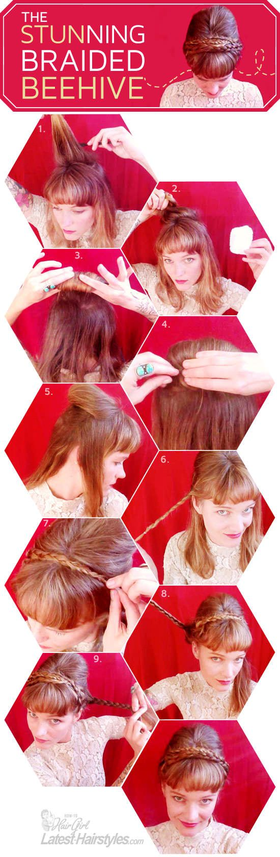 Braided Beehive Updo...LOVE IT! Full tutorial here...    http://www.latest-hairstyles.com/tutorials/braided-beehive.html
