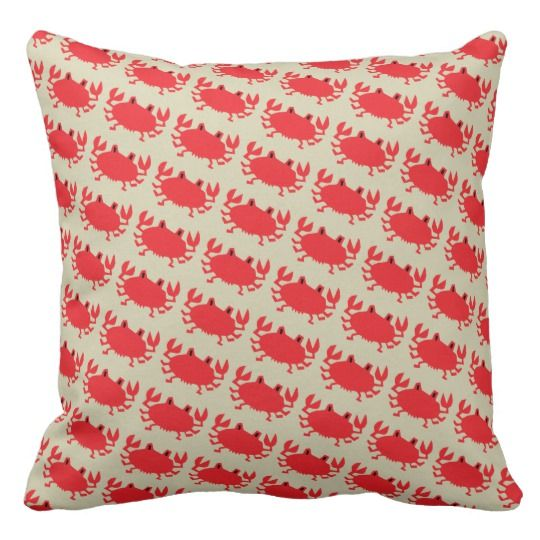 Red of sea crab throw pillow