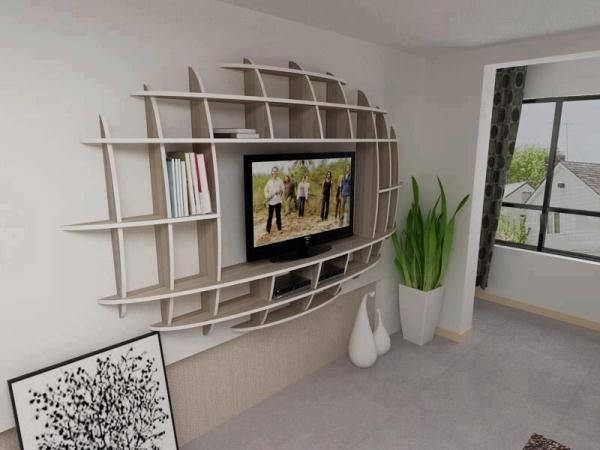 Modern Shelf Design Idea - looks like a football shape, would be great in the gameroom!