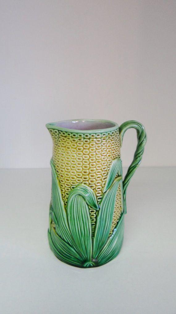 Vintage Pitcher Victorian Majolica Corn Maize Jug Top Quality Internal Pale Pink Glaze Leaf Detail Handle c. 1900's