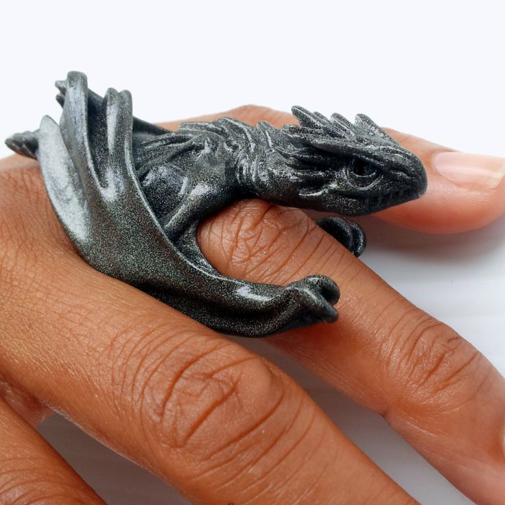 TwoClaw Horntail Dragon Ring  Medieval Sculpted by kilroysattic, $35.00