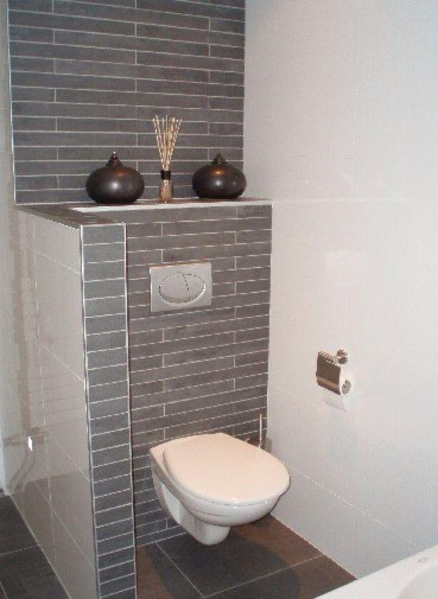 Idee tegels wc muurtje badkamer pinterest toilet bathroom and rv - Tegel toilet idee ...