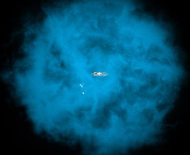 """Un articolo pubblicato sulla rivista """"The Astrophysical Journal"""" descrive una ricerca sull'enorme alone di gas che circonda la Via Lattea. Un gruppo di astronomi dell'Università del Michigan ha utilizzato dati degli archivi del telescopio XMM-Newton dell'ESA per scoprire che l'alone ruota nella stessa direzione della galassia e a una velocità paragonabile con il suo disco. Leggi i dettagli nell'articolo!"""