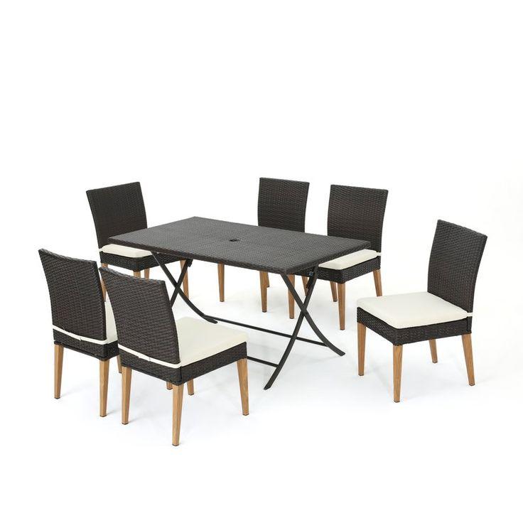 Bickel Outdoor Wicker 7 Piece Dining Set