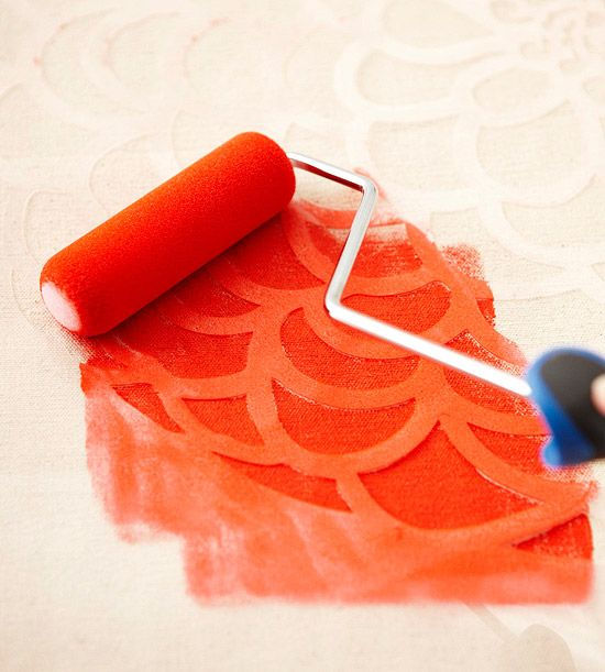 Foam rollers make for quick, uniform work on large surfaces such as walls, furniture, and fabric. Spray your stencil with stencil adhesive, position it on your surface, then simply roll over your design with crafts, fabric, or wall paint.