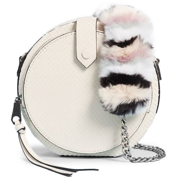 Rebecca Minkoff Mini Canteen Bag with Multi Fur Strap featuring polyvore, women's fashion, bags, handbags, shoulder bags, ecru, circle purse, multi colored purses, chain strap shoulder bag, multicolor handbags and mini shoulder bag