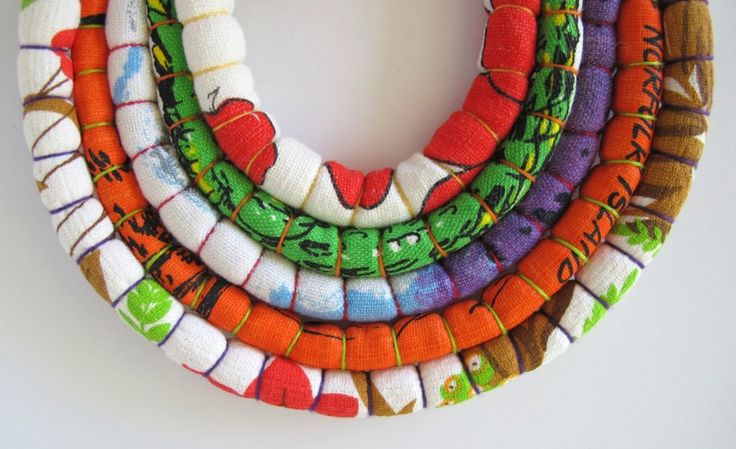 Baby Friendly Necklace for Mum - no small parts, washable, all natural materials, durable, ethical, environmentally sustainable (up-cycled fabrics). Monkey & Mum.
