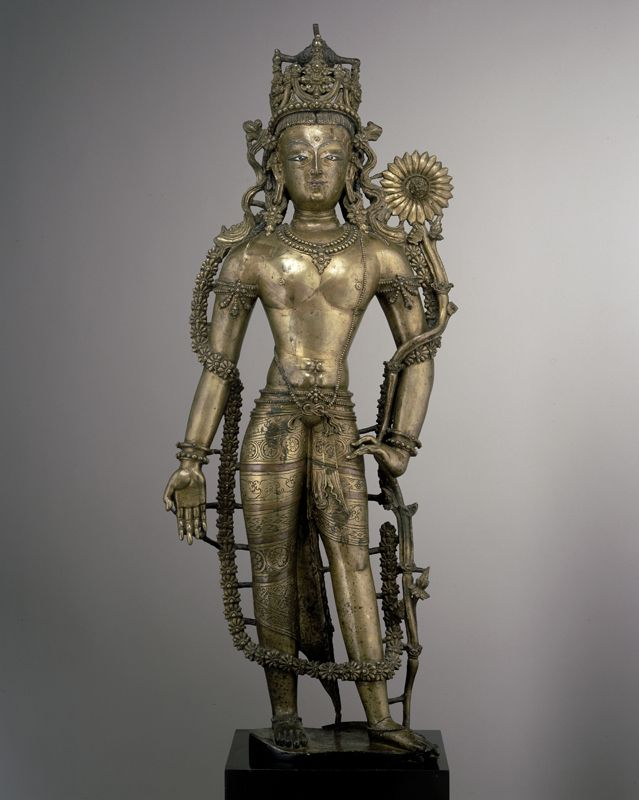 Standing Avalokitesvara. Brass with silver and copper inlay, Pritzker Collection