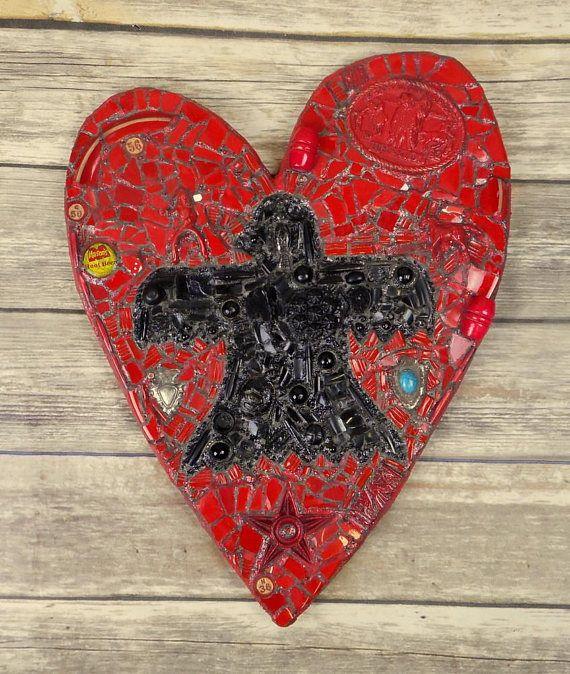 Thunderbird Heart Wall Art Mixed Media Red Black Native