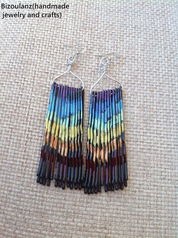 Metallic rainbow earrings with bobby pins,blue,purple,yellow,orange,green,teal,kawaii earrings,summer earrings, eco friendly earrngs greece