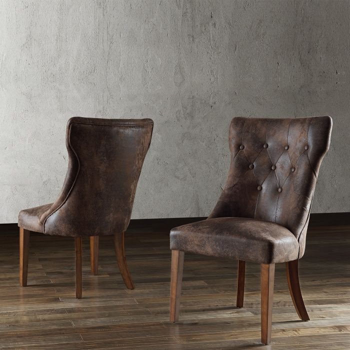 Atelier Traditional French Burnished Brown Oak Dining Chair Set Of
