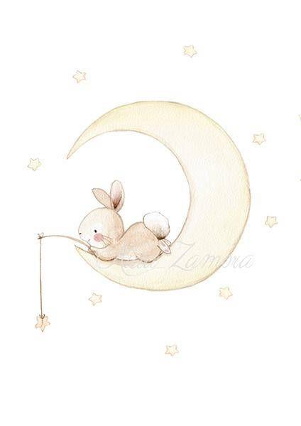 Piatto decorativo Pesca in the Moon Bunny lama per