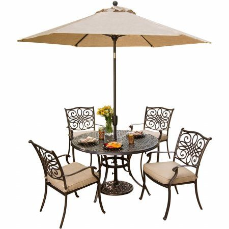 Hanover TRADITIONS5PCSU Traditions Outdoor Patio Dining Set  5 Pieces 4 Aluminum Cast Dining Chairs44 48 Round Table and Umbrella ** Continue to the product at the image link.(This is an Amazon affiliate link)