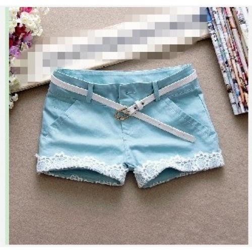 Fashion Lacework Embellished Short Pants Sky Blue #Short Pants