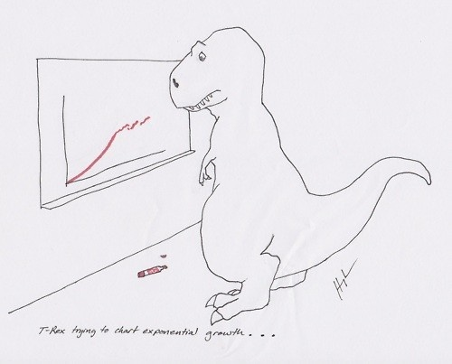 T-Rex trying to chart exponential growth…