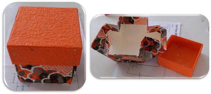 caja cubica, utilizando una caja de tetrapak de leche, decorada con papel japonés