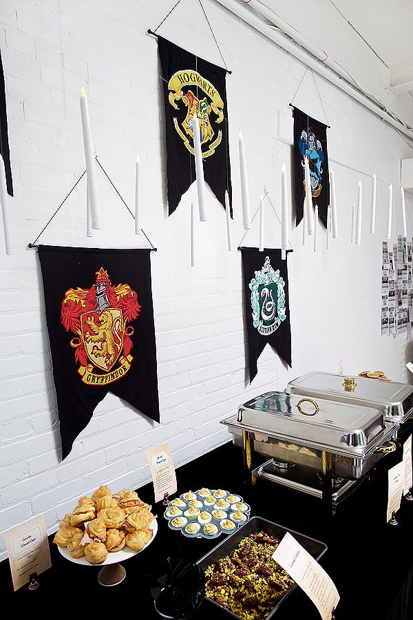 Harry Potter Baby Shower ideas! A Halloween costume party. #DIY #decorations #partyfood #hogwarts #birthdaypartyideas Great Hall - House Banners - Floating Candles