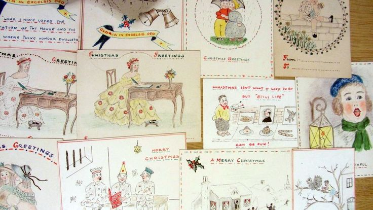 Vintage artist hand drawn greetings cards, funny postcards, by Rev Rowntree