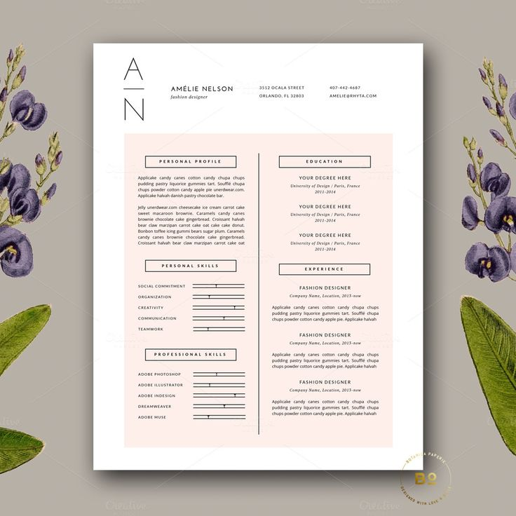 Resume & Cover Letter Template docx by Botanica Paperie on Creative Market