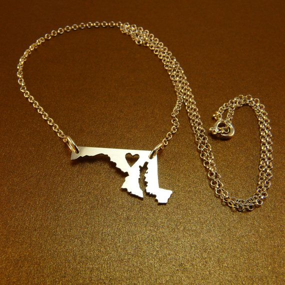MARYLAND STATE  sterling silver necklace  sterling by StefanoArt, $48.00