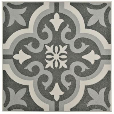 Merola Tile Braga Black Encaustic 7-3/4 in. x 7-3/4 in. Ceramic Floor and Wall Tile (11.11 sq. ft. / case)
