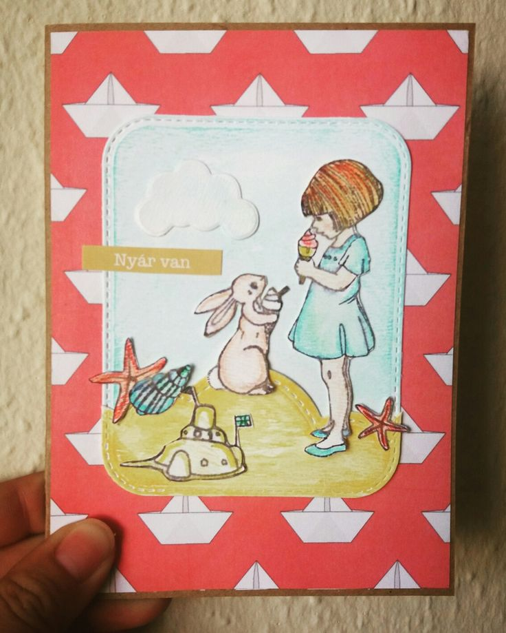 Scrapbook card #watercolor #stamp #bunny #summer